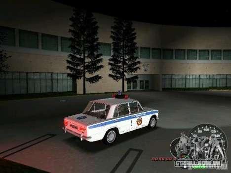 Polícia de 2101 VAZ para GTA Vice City vista traseira