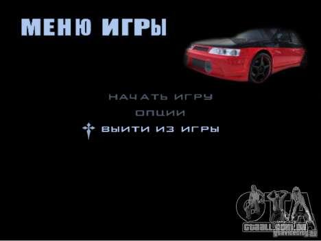 O novo menu do jogo para GTA San Andreas sexta tela