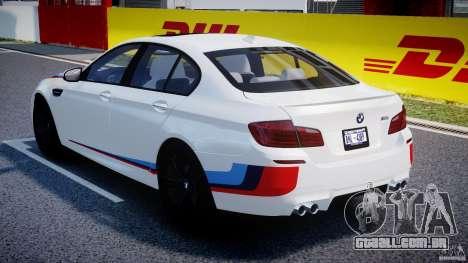 BMW M5 F10 2012 M Stripes para GTA 4 vista superior
