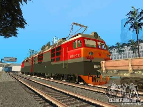 Vl80m-1785 ferrovias russas para GTA San Andreas traseira esquerda vista