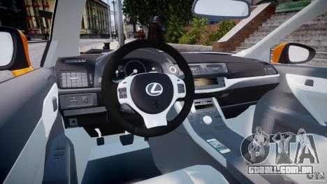 Lexus CT200h 2011 para GTA 4 vista direita