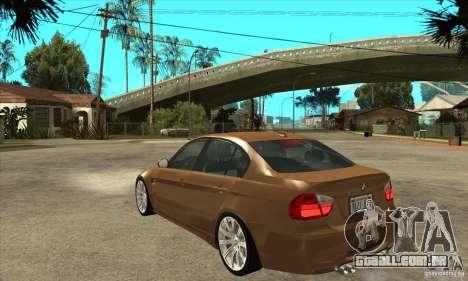 BMW E90 M3 para GTA San Andreas traseira esquerda vista