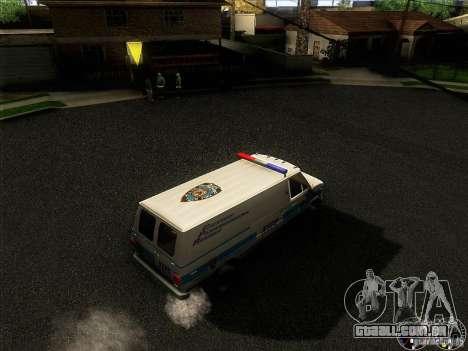 Chevrolet VAN G20 NYPD SWAT para GTA San Andreas vista interior