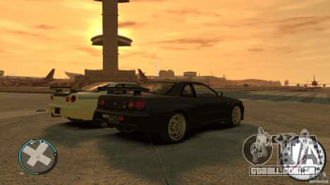 Nissan Skyline gtr34 VOLK rims para GTA 4 esquerda vista