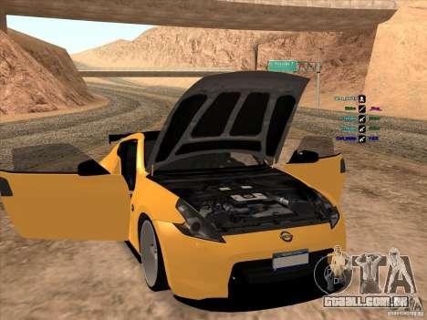Nissan 370Z para GTA San Andreas vista interior