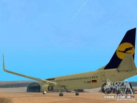 Boeing 737-800 Lufthansa para GTA San Andreas traseira esquerda vista