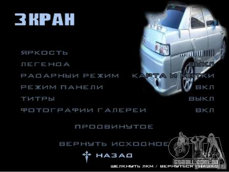 O novo menu do jogo para GTA San Andreas terceira tela