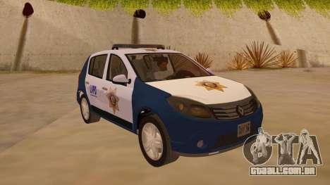 Renault Sandero Police LV para GTA San Andreas vista traseira