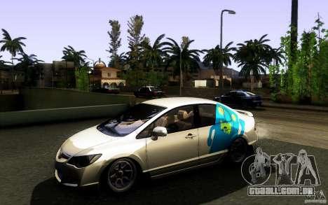 Honda Civic FD BlueKun para vista lateral GTA San Andreas