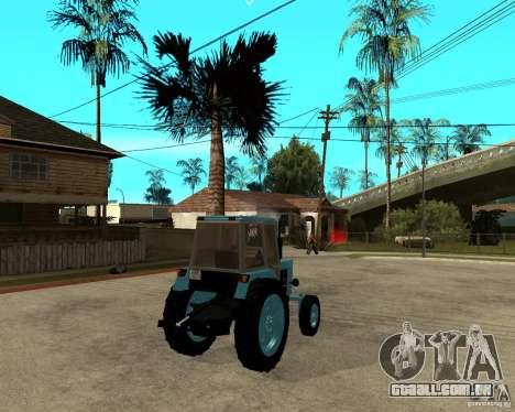 Tractor Belarus 80,1 e reboque para GTA San Andreas traseira esquerda vista