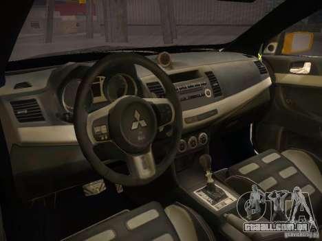Mitsubishi Lancer Evo X Tunable para GTA San Andreas traseira esquerda vista
