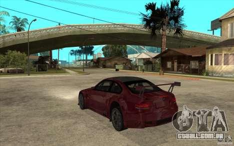 BMW M3 2009 para GTA San Andreas traseira esquerda vista