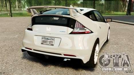 Honda Mugen CR-Z v1.1 para GTA 4 traseira esquerda vista