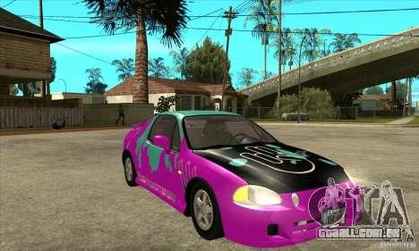 Honda CRX - DelSol para GTA San Andreas vista traseira
