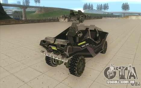 Halo Warthog para GTA San Andreas vista interior