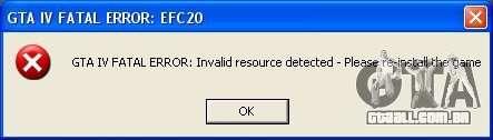 Corrigir erro fatal EFC20 para GTA 4 segundo screenshot