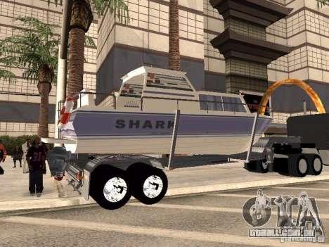 Boat Trailer para GTA San Andreas traseira esquerda vista