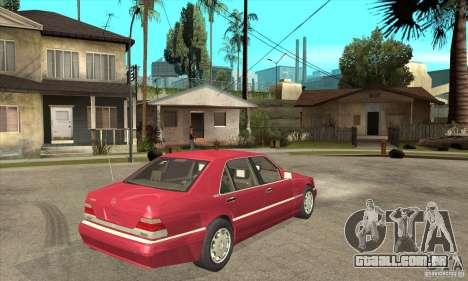 Mercedes-Benz S600 1999 para GTA San Andreas vista traseira