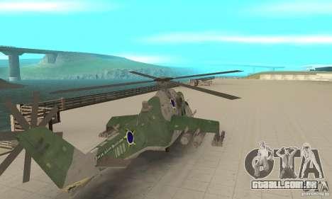 Um helicóptero do conflito de Shtorm Global para GTA San Andreas traseira esquerda vista