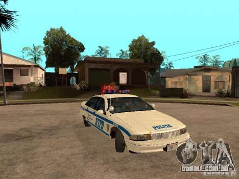 NYPD Chevrolet Caprice Marked Cruiser para GTA San Andreas vista traseira