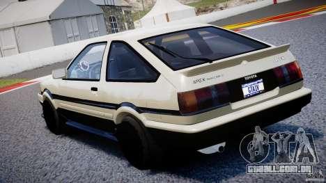Toyota AE86 TRUENO Initial D para GTA 4 traseira esquerda vista