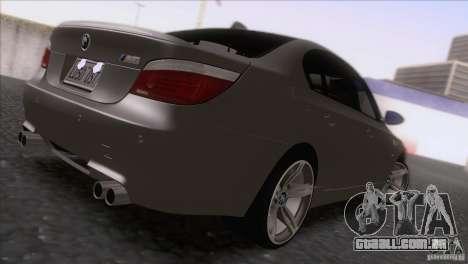 BMW M5 E60 2009 para GTA San Andreas traseira esquerda vista