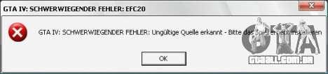 Corrigir erro fatal EFC20 para GTA 4 terceira tela