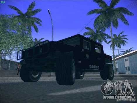 Hummer H1 1986 Police para GTA San Andreas vista traseira