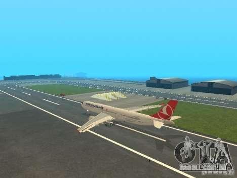 Airbus A330-300 Turkish Airlines para GTA San Andreas traseira esquerda vista