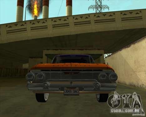 Chevrolet Impala SS 1961 para GTA San Andreas traseira esquerda vista