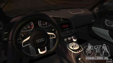 Audi R8 5.2 Stock 2012 Final para GTA 4 vista de volta