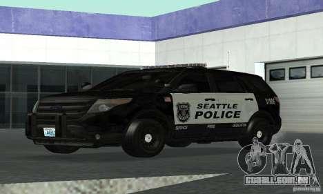 Ford Police Interceptor Utility 2011 para GTA San Andreas traseira esquerda vista