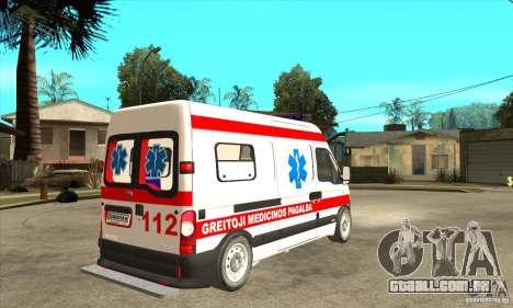 Renault Master Ambulance para GTA San Andreas vista direita