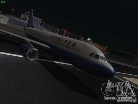 Airbus A319 United Airlines para GTA San Andreas vista traseira