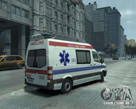 Mercedes-Benz Sprinter Azerbaijan Ambulance v0.1 para GTA 4 vista direita