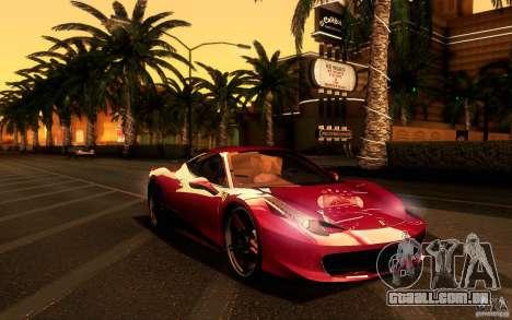 Ferrari 458 Italia Final para GTA San Andreas vista interior