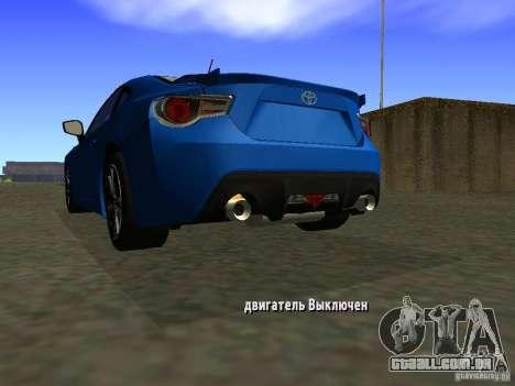 Toyota GT86 Limited para GTA San Andreas traseira esquerda vista