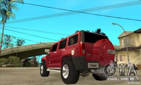 Hummer H3 para GTA San Andreas traseira esquerda vista