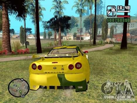 Nissan Skyline 2Fast 2Furious NEW para GTA San Andreas vista direita