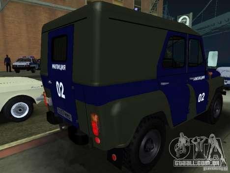 Polícia de 3151 UAZ para GTA San Andreas vista direita