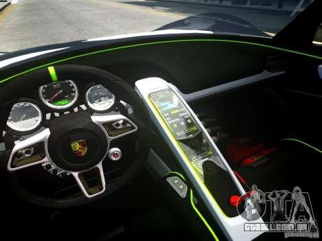 Porsche 918 Spider Body Kit Final para GTA 4 vista de volta