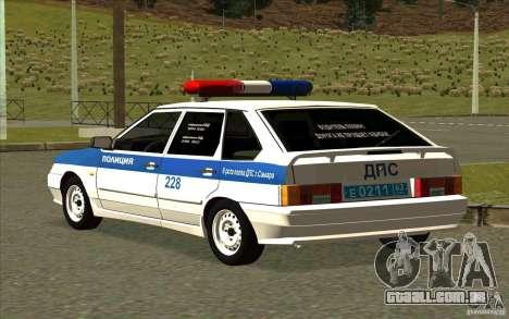 VAZ 2114 polícia DPS para GTA San Andreas esquerda vista