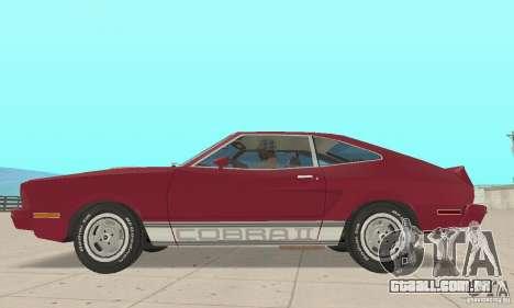 Ford Mustang II 1976 Cobra v. 1.01 para GTA San Andreas traseira esquerda vista