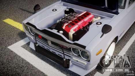Nissan Skyline 2000 GT-R Drift Tuning para GTA 4 vista de volta