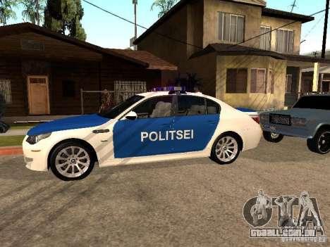 BMW 5-er Police para GTA San Andreas esquerda vista