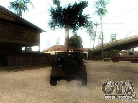 Jeep Wrangler 1986 4.0 Fury v.3.0 para GTA San Andreas traseira esquerda vista