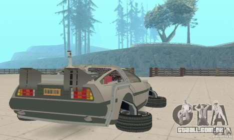 DeLorean DMC-12 (BTTF2) para GTA San Andreas traseira esquerda vista