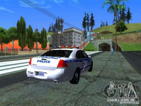 Chevrolet Impala NYPD para GTA San Andreas traseira esquerda vista