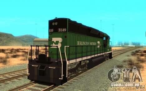 SD 40 Union Pacific Burlington Northern 3149 para GTA San Andreas traseira esquerda vista