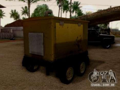 Trailer Generator para GTA San Andreas traseira esquerda vista
